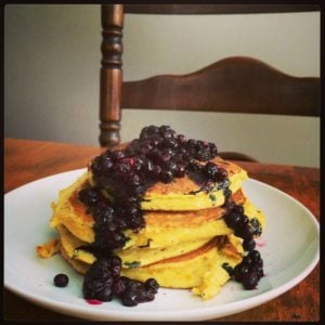 ​Coconut Lemon Zest Pancakes with Blueberry Reduction