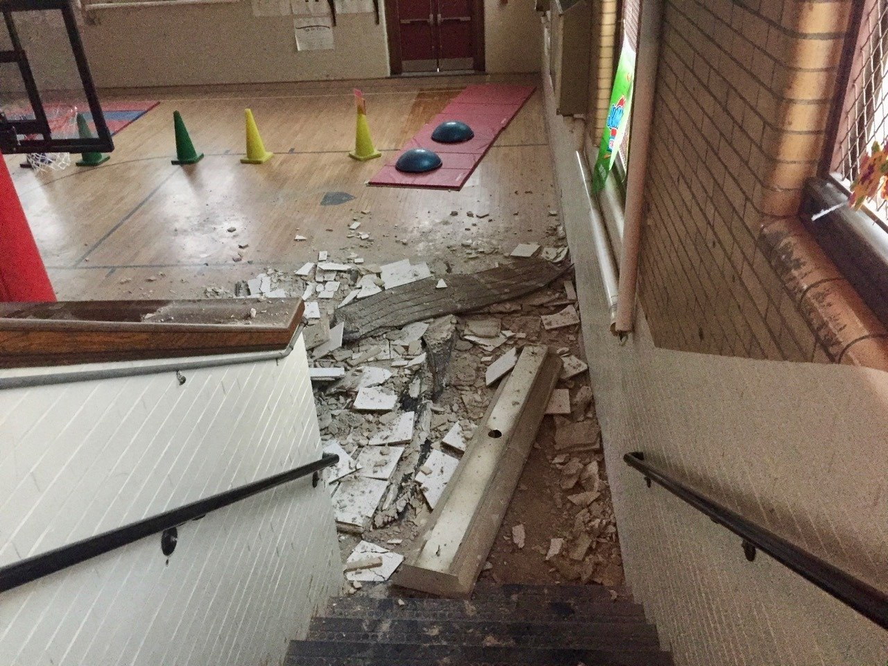 Part of Eldredge Gym Ceiling Collapses During PE Class; No Injuries