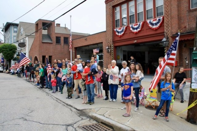 Firefighters and their families were out in force to watch the parade.