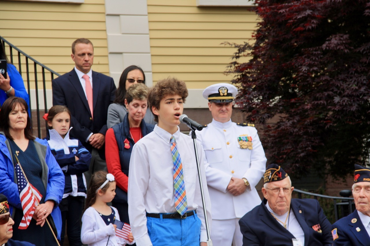 Cole Middle School student Liam Salisbury recites the Gettysburg Address, a Memorial Day tradition in East Greenwich.