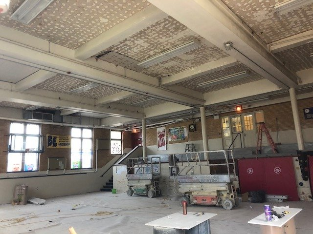 Eldredge Gym Ceiling Fix on Track for School Start